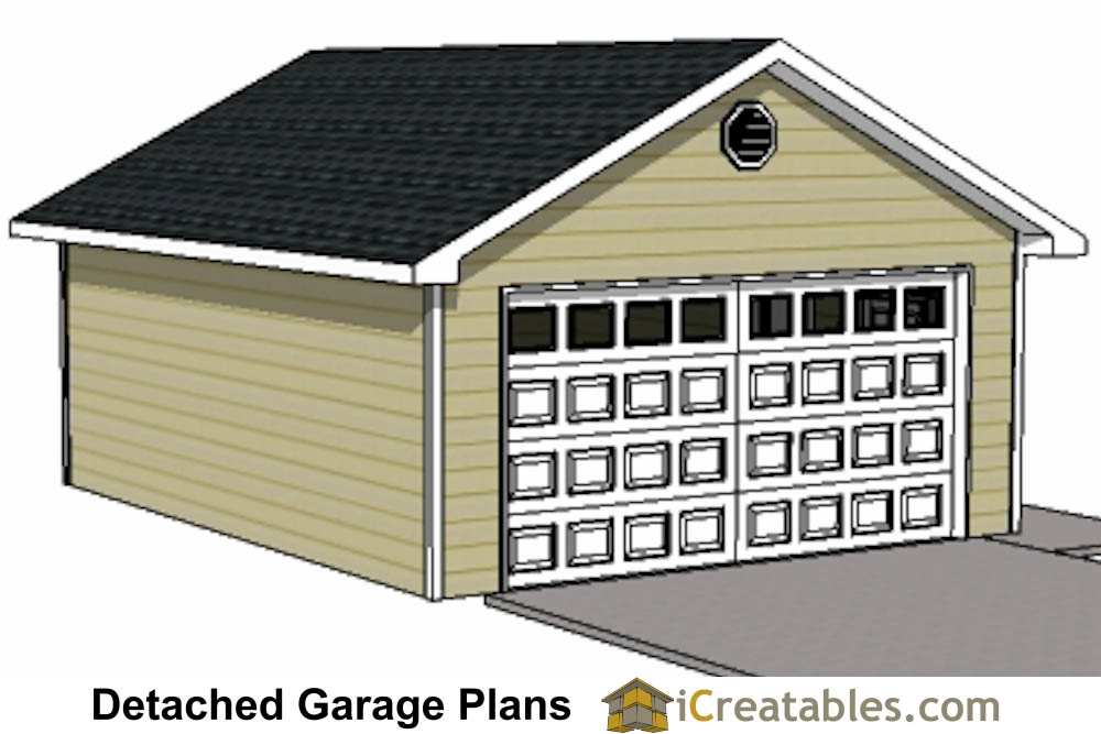 20x24 1 car detached garage plans download and build for 2 door garage plans