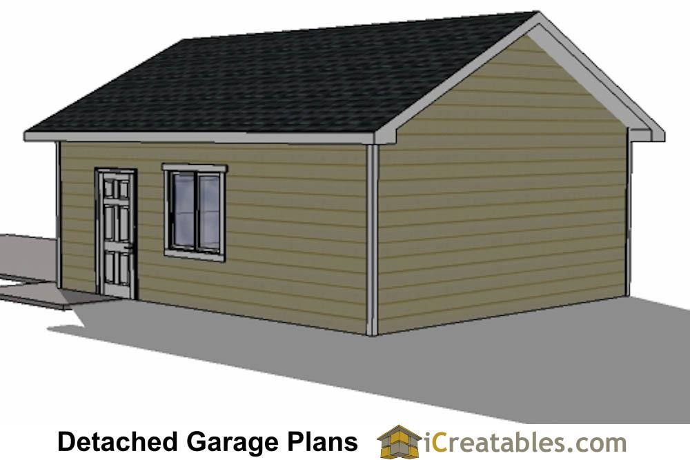 20x24 1 car detached garage plans download and build for Garage building software free download