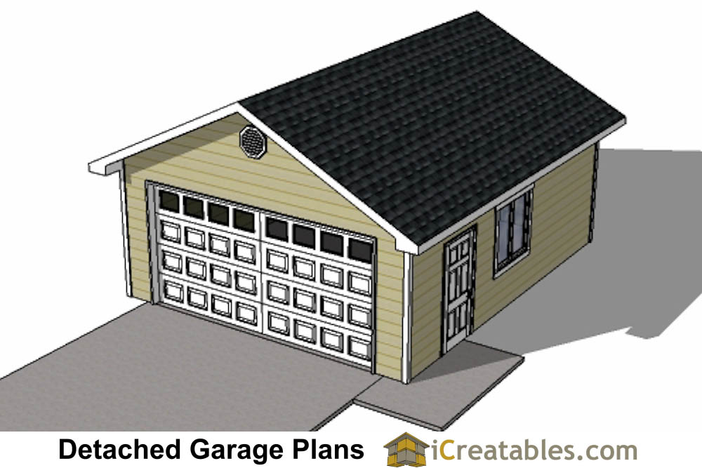 20x24 1 car detached garage plans download and build for Single car detached garage plans