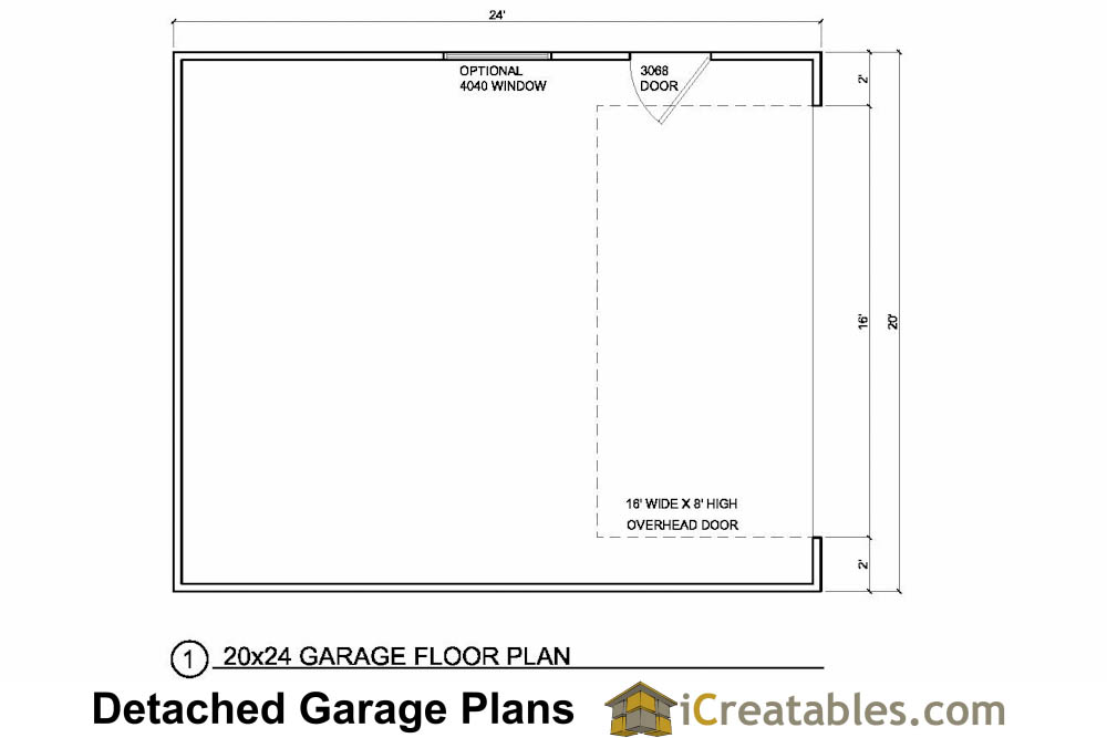 20x24 1 car detached garage plans download and build for Garage door plans free