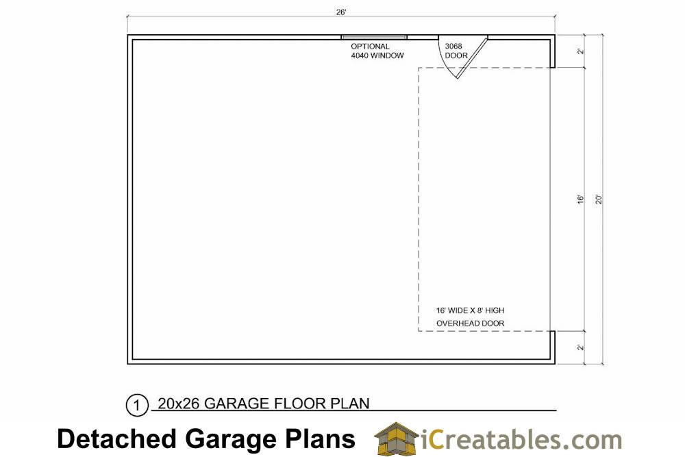 20x26 1 car detached garage plans download and build for Free garage building plans download