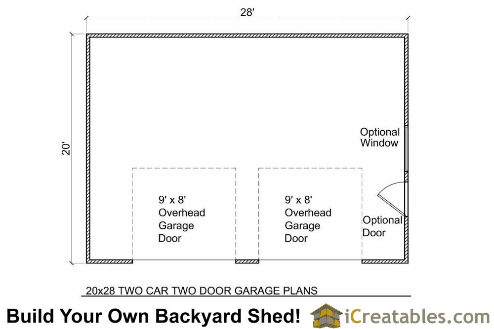 20x28 2 car 2 door detached garage eve over door plans for 2 door garage plans