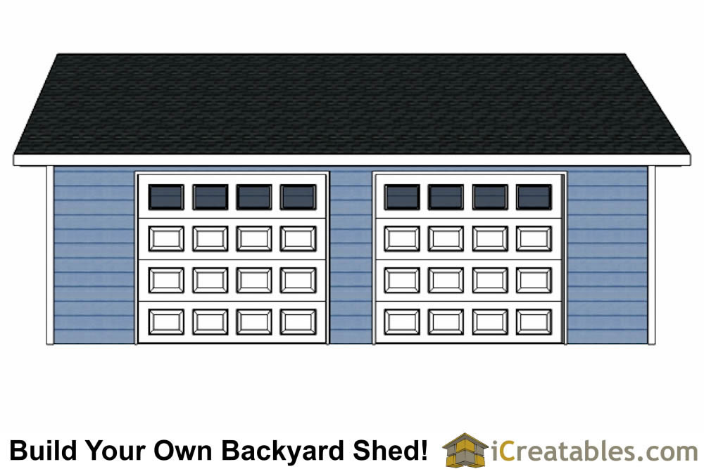 20x28 2 car 2 door detached garage eve over door plans for Material list for garage