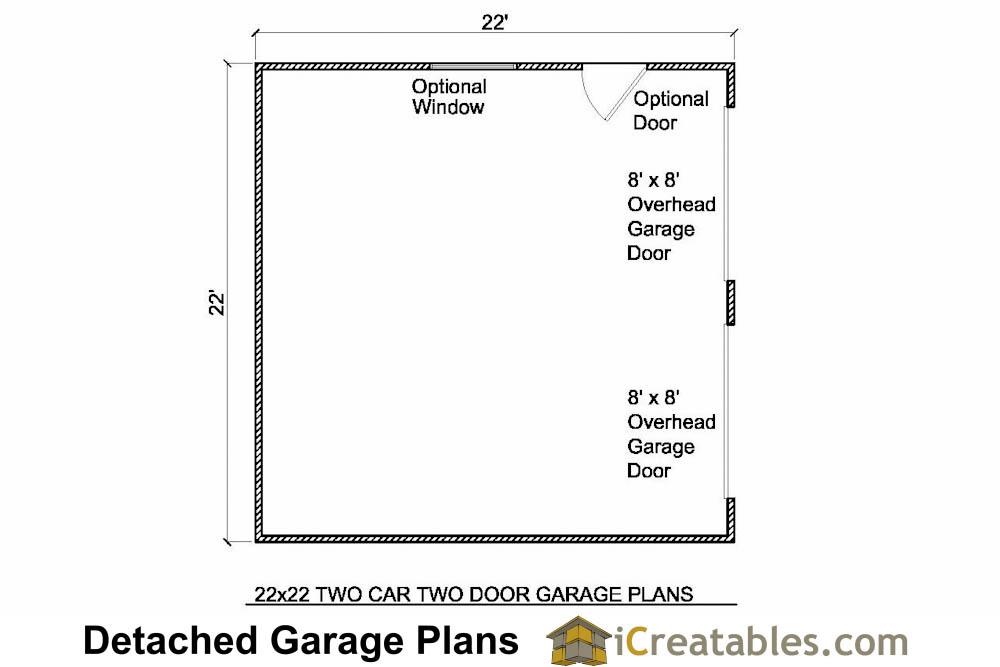 22x22 2 car 2 door detached garage plans for Engineered garage plans
