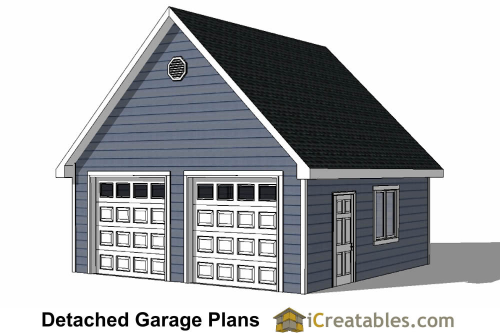 Diy 2 car garage plans 24x26 24x24 garage plans for Two car garage doors