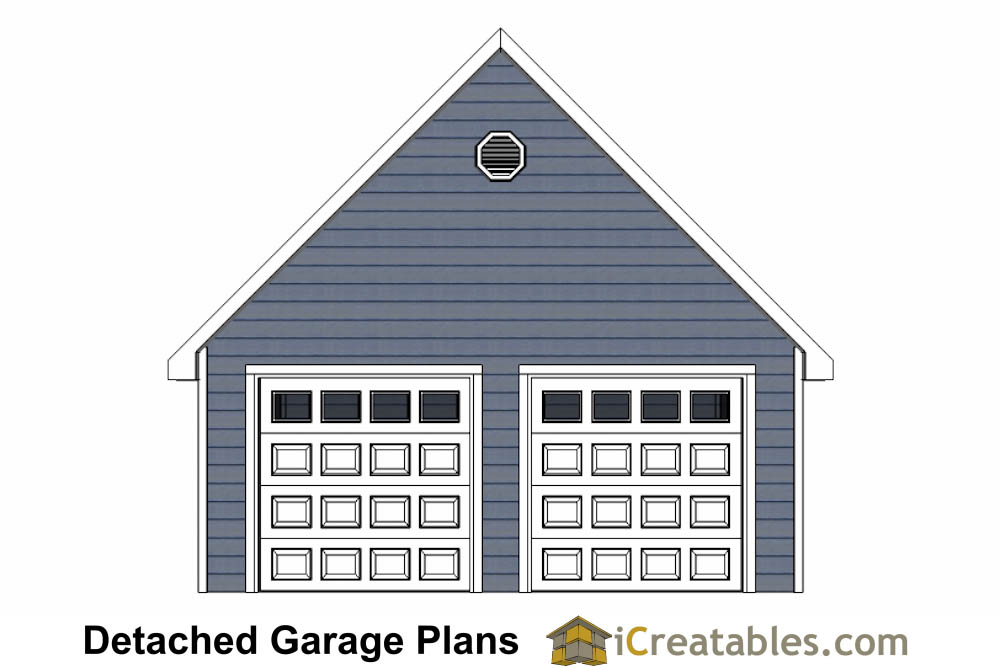 Front Elevation Garage : Car door detached garage plans