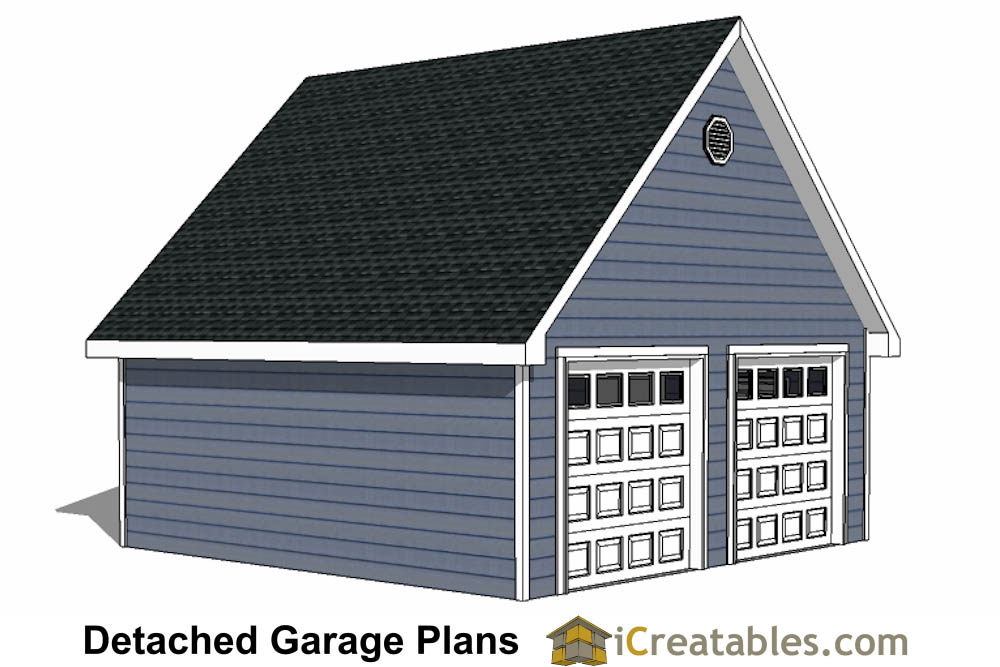 22x22 2 car 2 door detached garage plans for Garage roofing options