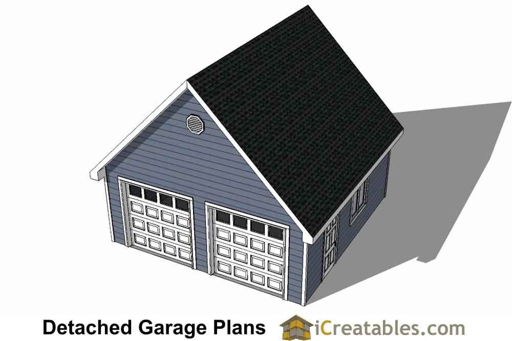 22x22 2 car 2 door detached garage plans for 12 ft wide garage door