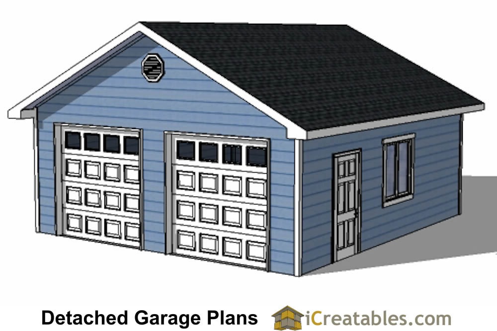 22x22 2 car 2 door detached garage plans for Two car garage with workshop plans