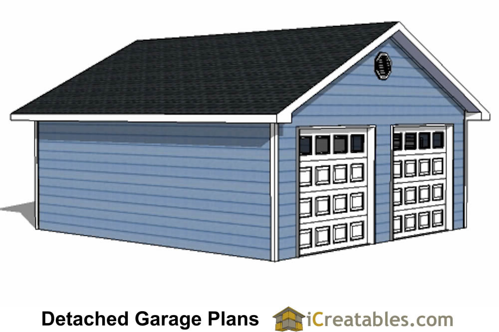 22x22 2 car 2 door detached garage plans for Two car garage doors