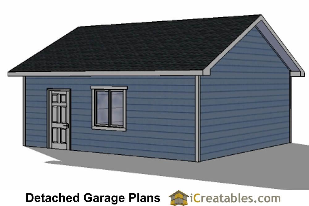 22x22 2 Car 2 Door Detached Garage Plans