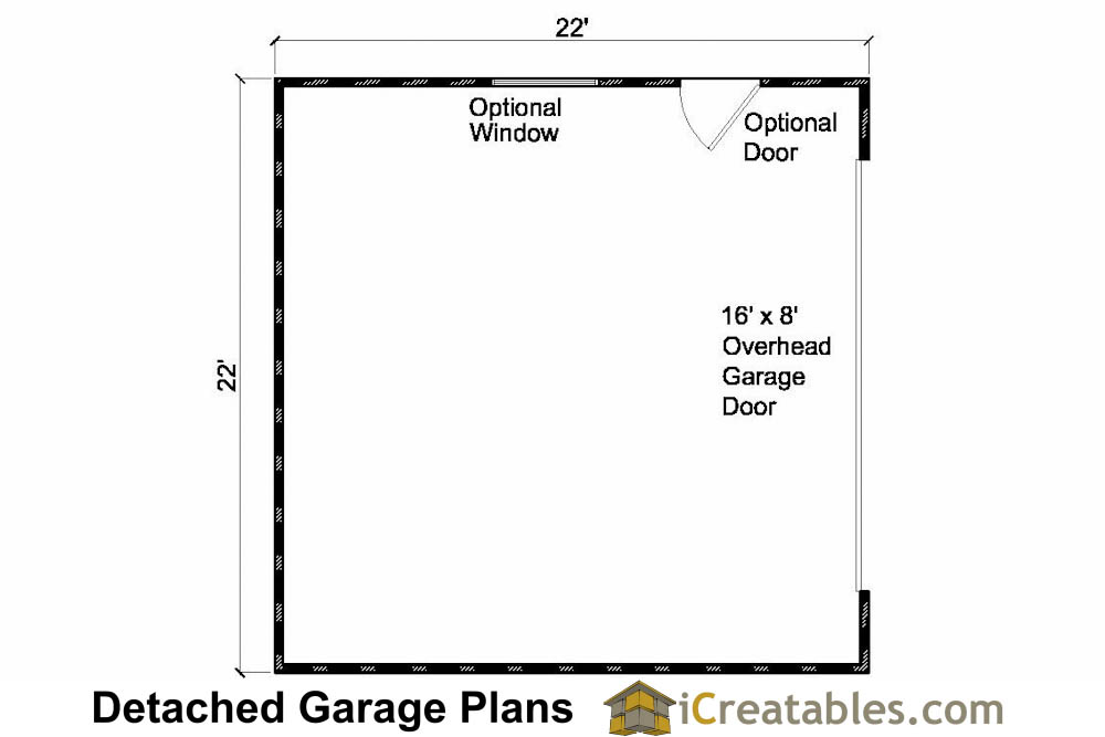 22x22 2 car 1 door detached garage plans for 2 door garage plans