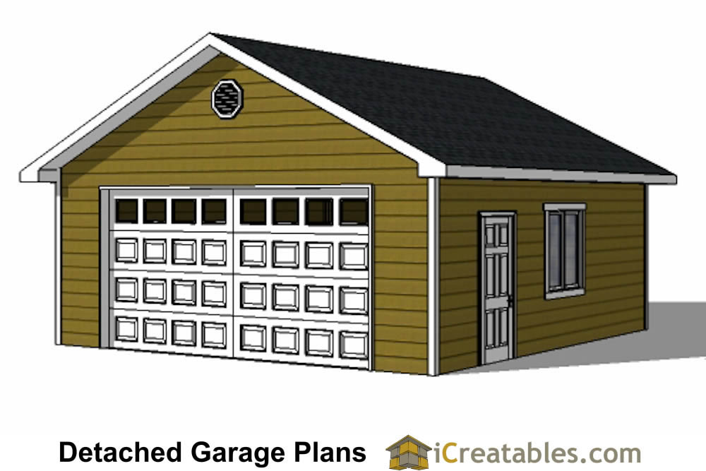 Diy 2 car garage plans 24x26 24x24 garage plans for Single car garage plans