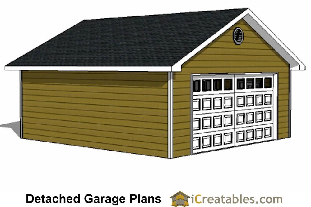 22x22 2 Car 1 Door Detached Garage Plans