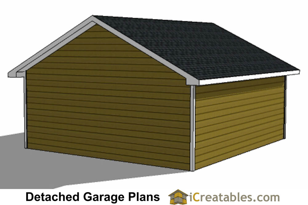 22x22 2 car 1 door detached garage plans for 2 1 2 car garage