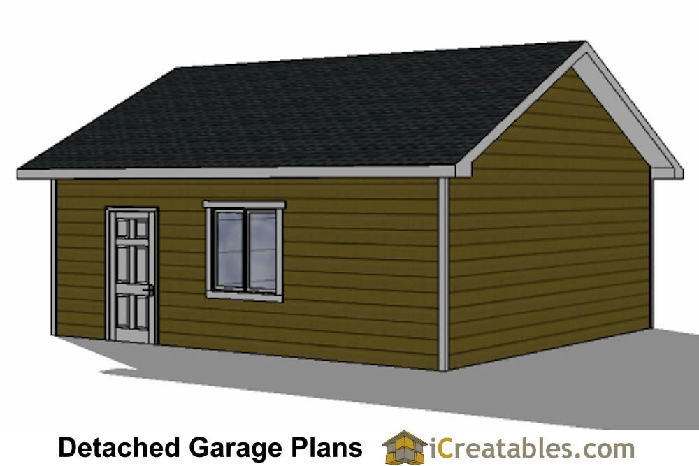 22x22 2 car 1 door detached garage plans for Single car detached garage plans