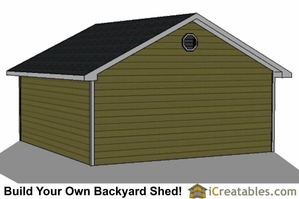 22x22 2 car 1 door detached garage plans eve over door for 2 door garage plans