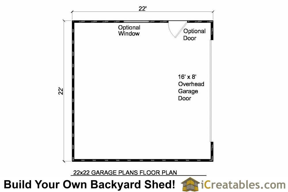 22x22 2 car 1 door detached garage plans eve over door for 2 1 2 car garage plans