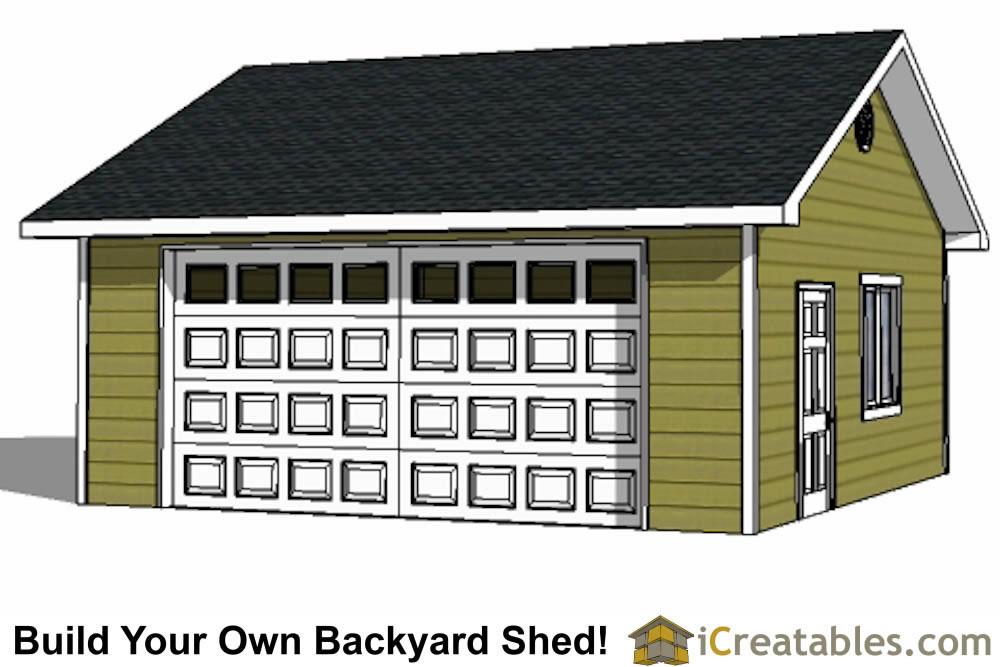 22x22 2 Car 1 Door Detached Garage Plans Eve Over Door – Build Your Own Garage Plans