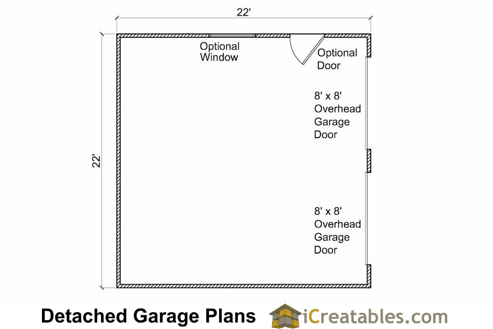 22x22 2 car 2 door detached garage eve over door plans for 2 door garage plans