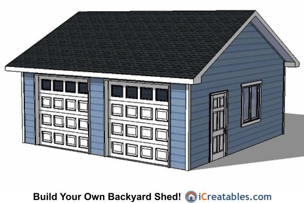 22x22 Garage Plans Front Elevation. 22x22 2 Car 2 Door Detached Garage  Eve Over Door Plans