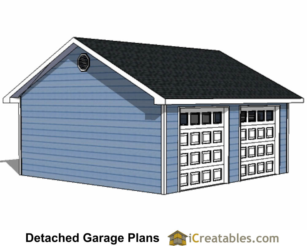 22x22 2 car 2 door detached garage eve over door plans for Garage door plans free