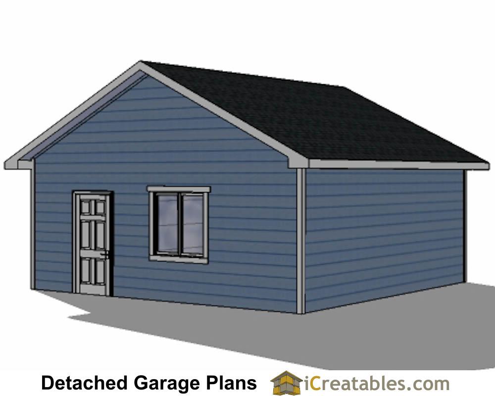22x22 2 Car 2 Door Detached Garage Eve Over Door Plans
