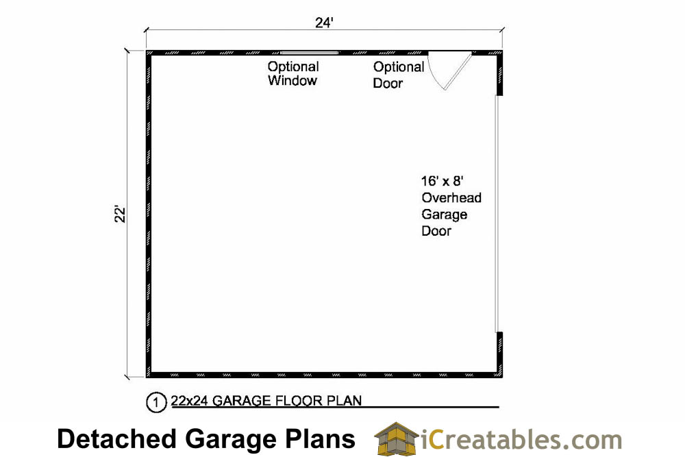Car Garage Floor Plan: 22x24 2 Car 1 Door Detached Garage Plans