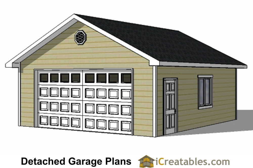 2 door garage plans 24x24 garage plans 2 car garage for Garage door plans free