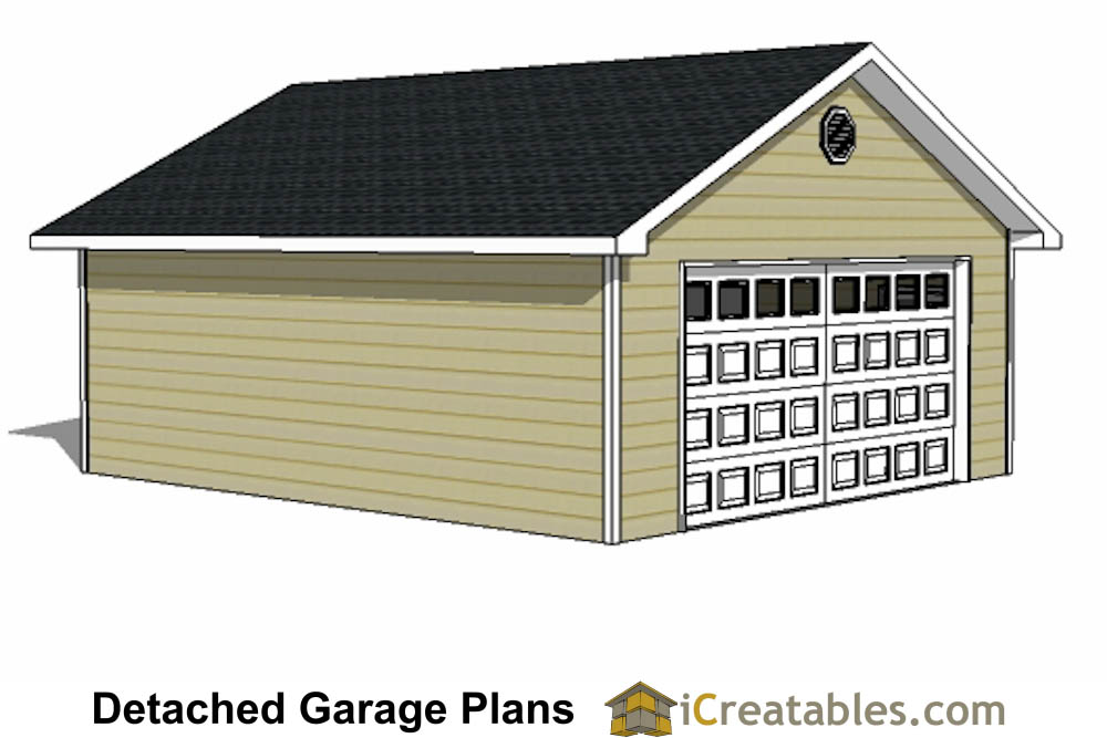 22x24 2 Car 1 Door Detached Garage Plans