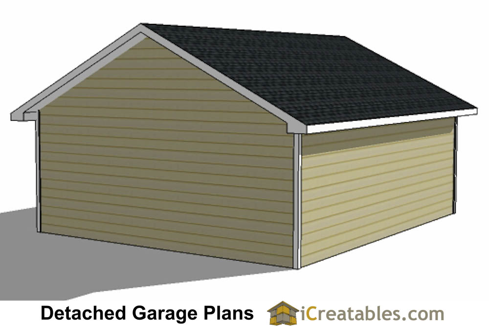 22x24 2 car 1 door detached garage plans for 2 1 2 car garage