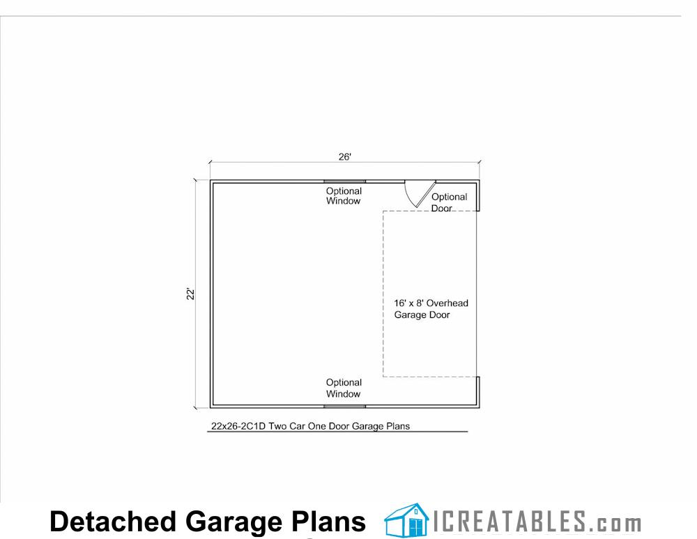 22x26 2 car 1 door detached garage plans for 2 car garage floor plans