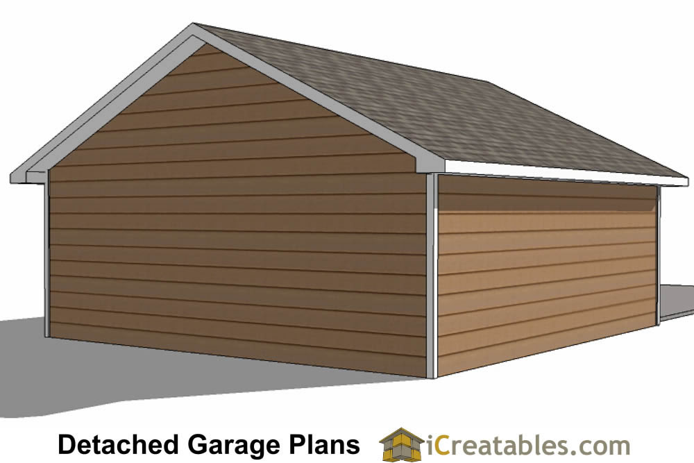 22x26 2 car 1 door detached garage plans for Single car detached garage plans