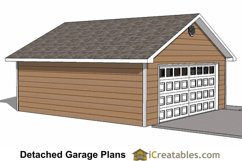 22x26 2 car 1 door detached garage plans. Black Bedroom Furniture Sets. Home Design Ideas