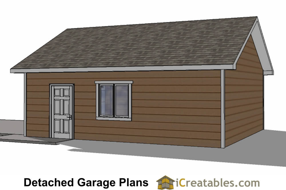 22x26 2 car 1 door detached garage plans