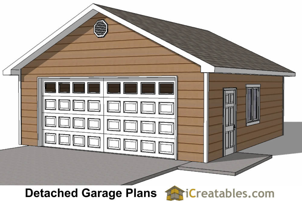 22x26 2 car 1 door detached garage plans for Garage building ideas