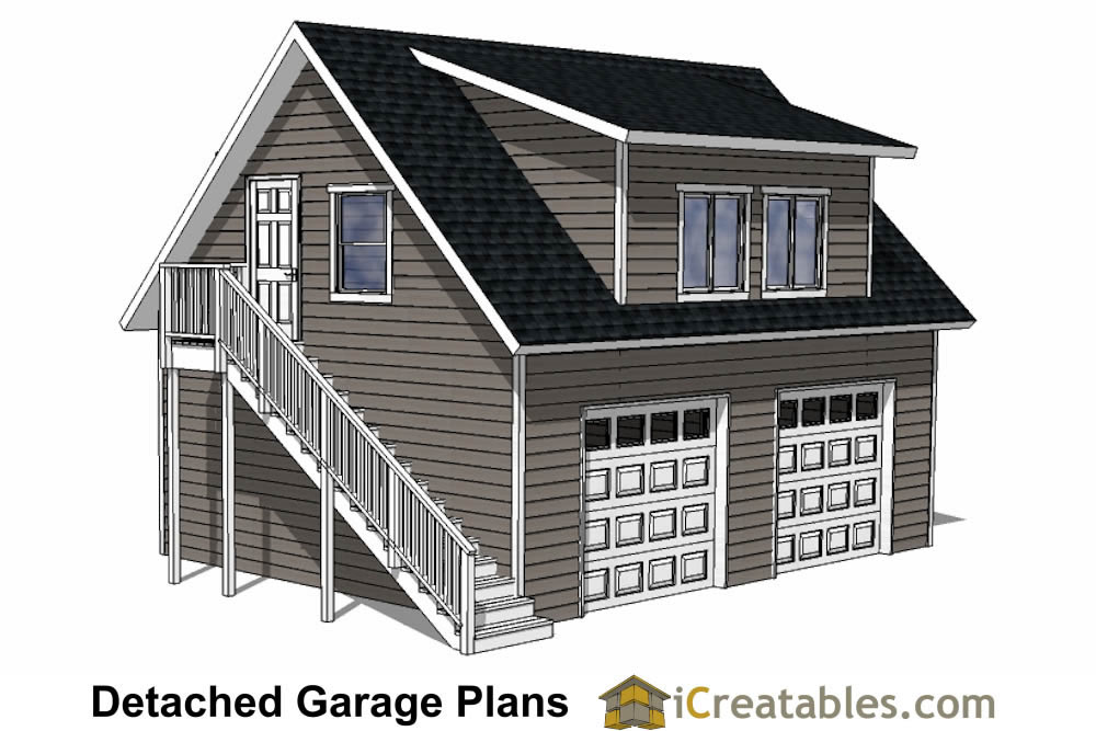 Diy 2 car garage plans 24x26 24x24 garage plans for Single car garage with apartment above plans