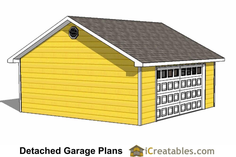 24x24 garage plans door under eve for Garage material list