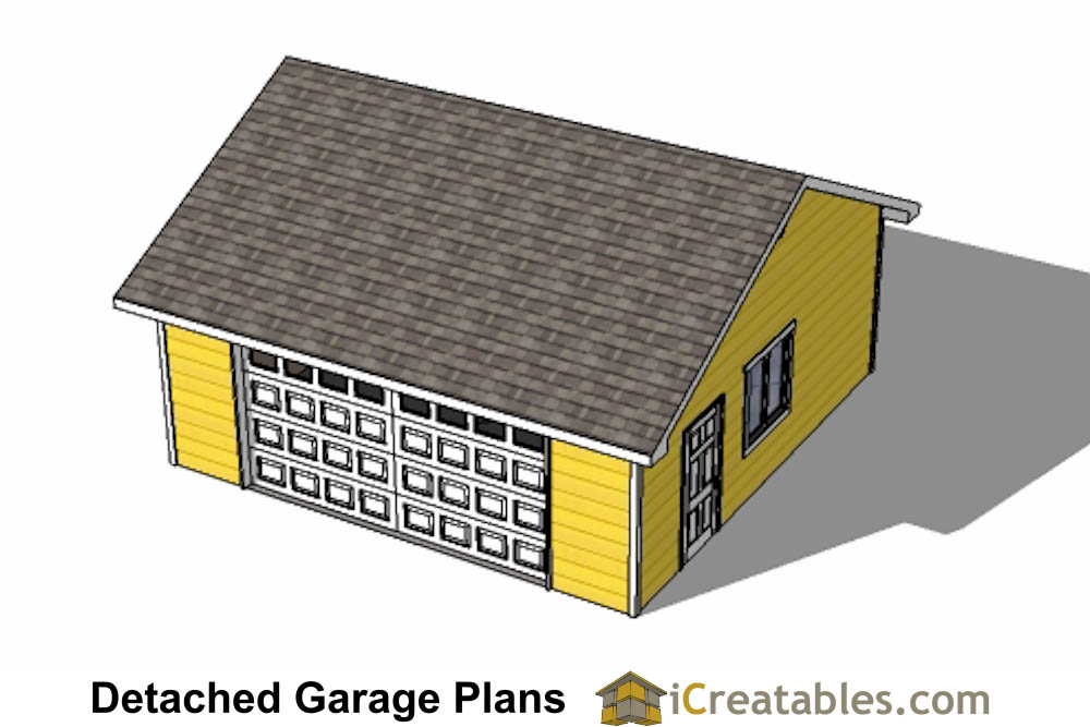24x24 garage plans door under eve for Material list for garage
