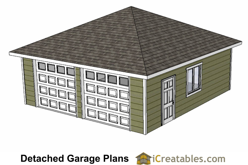 24x24 garage plans with hip roof for Hip roof garage plans