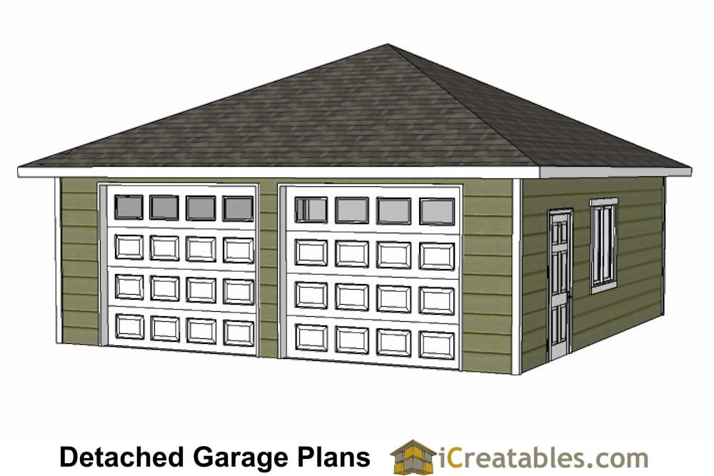 24x24 two car garage plans with single door hip roof