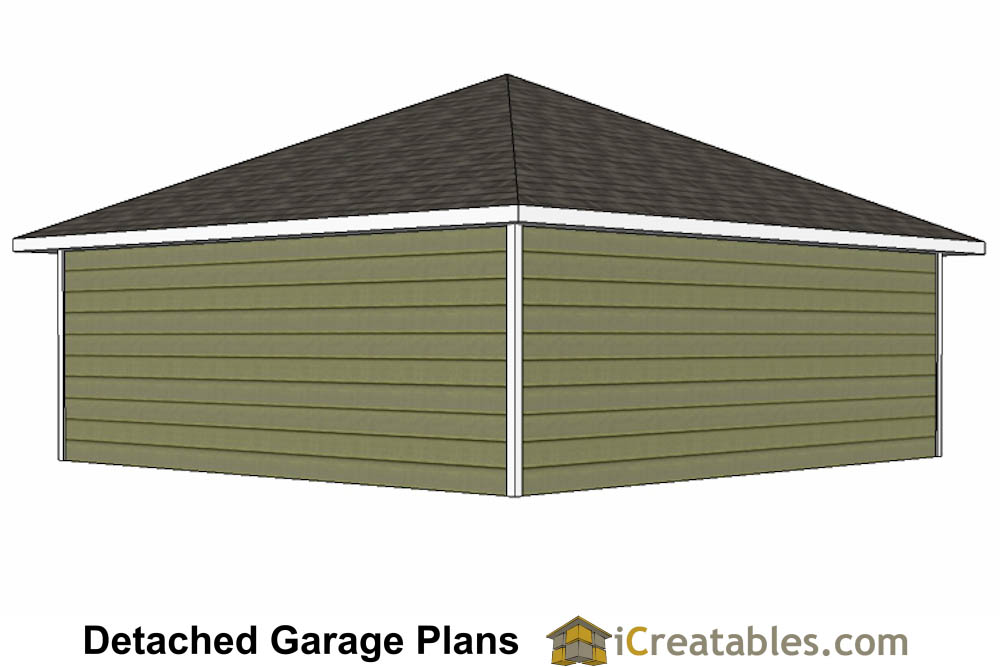 24x24 garage plans with hip roof for Garage door plans free