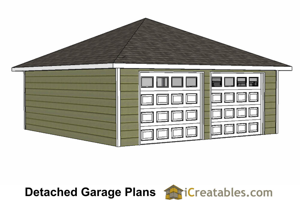 24x24 garage plans with hip roof for 2 door garage plans