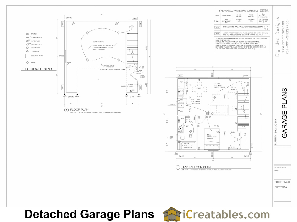 24x24 Garage Plans With 1 Bedroom, Converting A Garage Into An Apartment Floor Plans