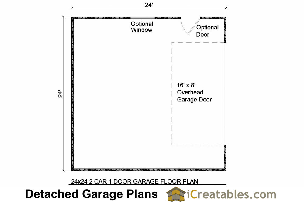 24x24 garage floor plan with 1 door