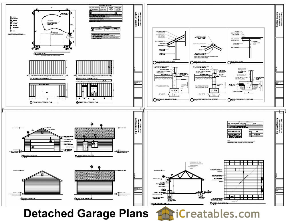 24x24 Garage Plans | 2 Car Garage Plans