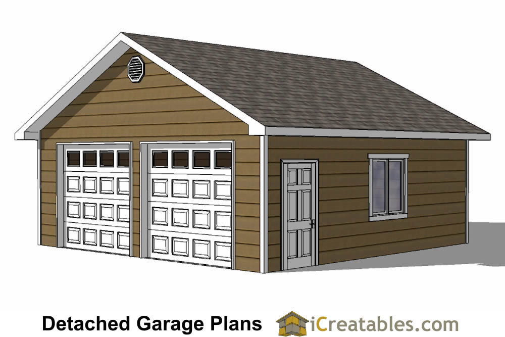 24x24 Garage Plans | 2 Car Garage Plans | 2 Doors
