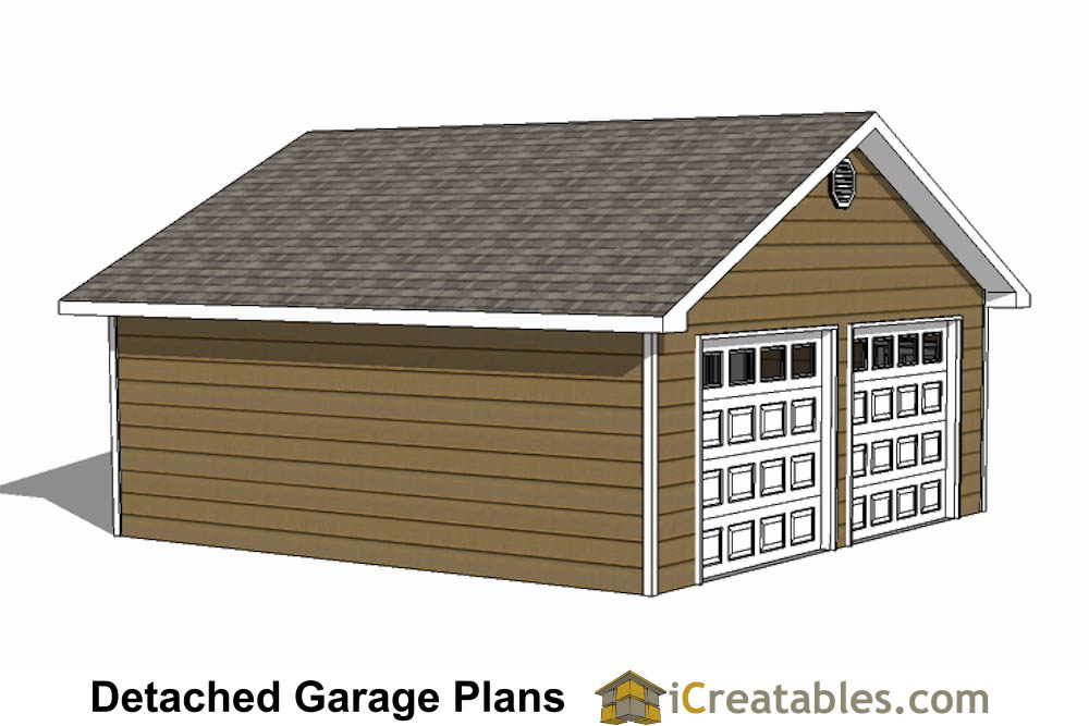 24x24 garage plans 2 car garage plans 2 doors for Garage door plans free