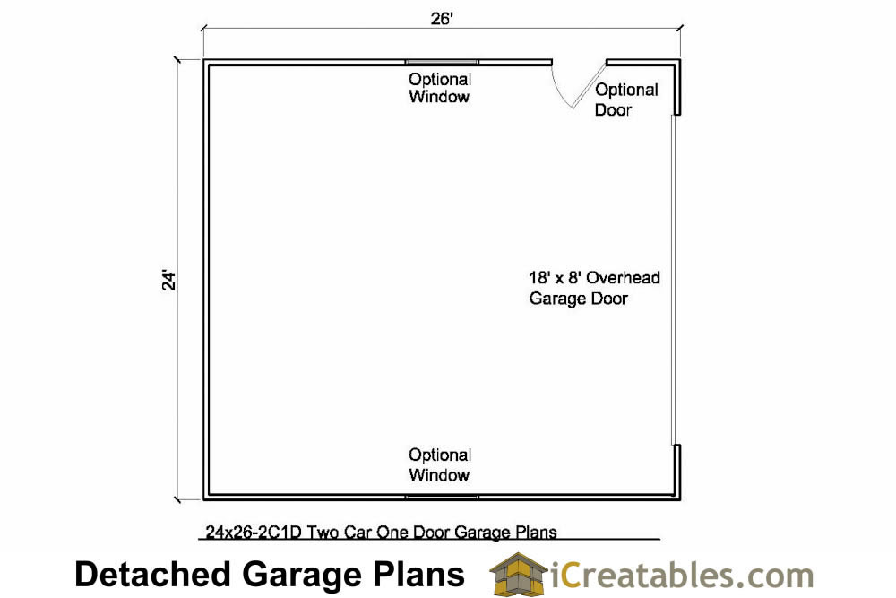 24x26 2 car 1 door detached garage plans