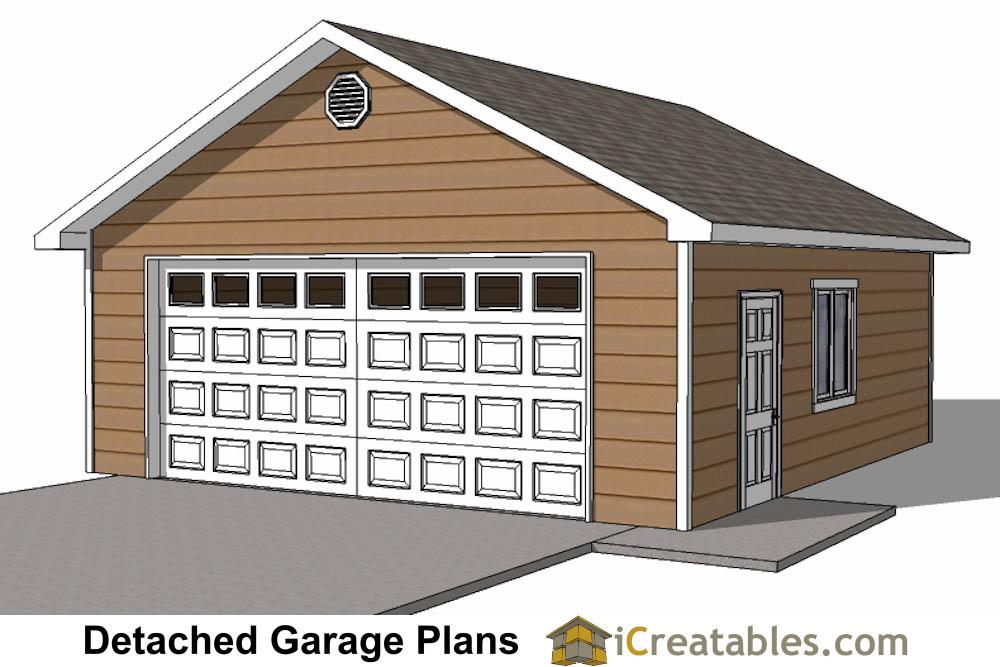 24x26 2 Car 1 Door Detached Garage Plans